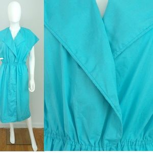 Vintage Blue Wrap Dress Hand Tailored Loose Large